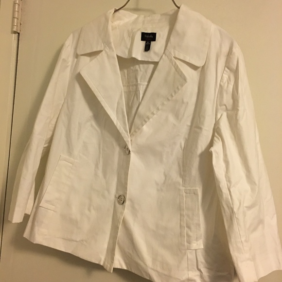 Rafaella Jackets & Blazers - White Cotton Blazer Size XL